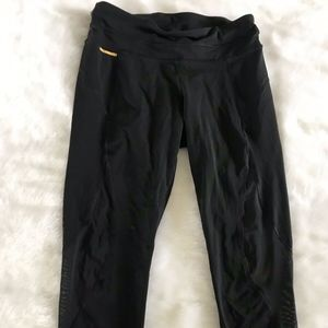 Lole Black Crop Legging Mesh Detail Size Small
